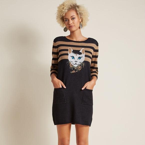 Teeberry & Weave Dresses & Skirts - Modcloth Cat Well-Styled Feline Sweater Dress